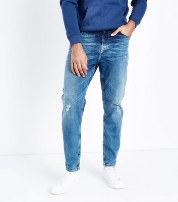 Bright Blue Distressed Tapered Jeans