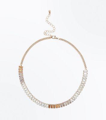 Gold Ombre Gem Embellished Necklace New Look