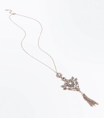 Rose Gold Floral Gem Tassel Pendant Necklace New Look