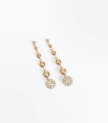Gold Diamante Embellished Orb Drop Earrings New Look