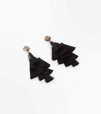 Black Glitter Top Tassel Drop Earrings New Look