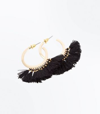 Black Tassel Mini Hoop Earrings New Look