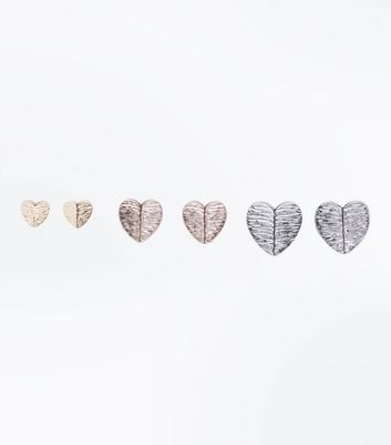 3 Pack Silver Gold and Rose Gold Heart Studs New Look