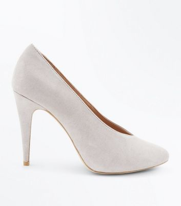 Grey Suedette V Front Court Shoes New Look