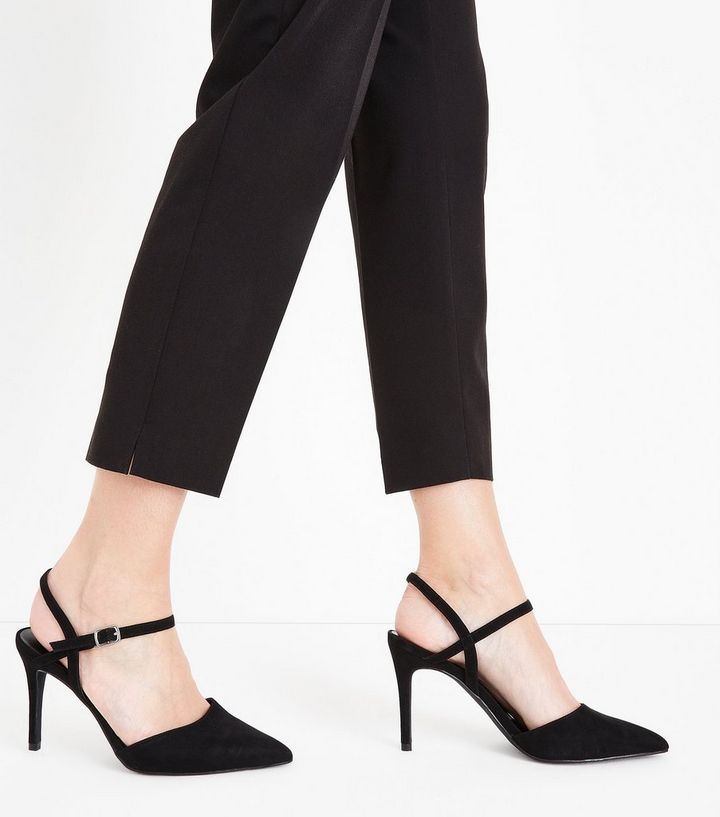 10e2bcc939b Black Suedette Ankle Strap Pointed Court Shoes Add to Saved Items Remove  from Saved Items