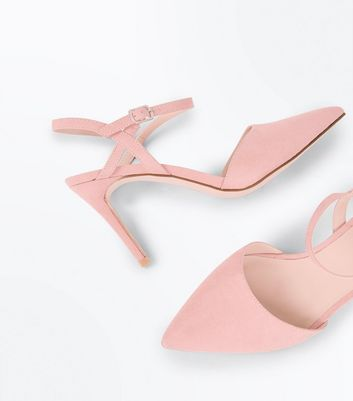 Pink Suedette Ankle Strap Pointed Court Shoes New Look