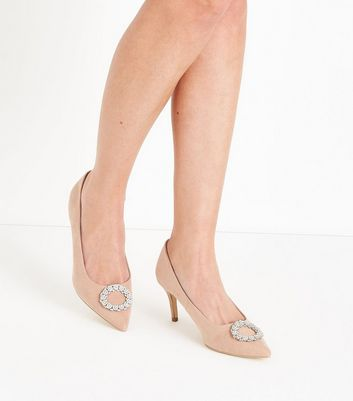 Nude Suedette Brooch Toe Pointed Courts New Look