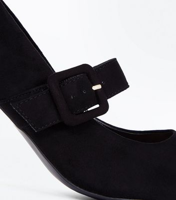 Black Suedette Buckle Strap Pointed Courts New Look