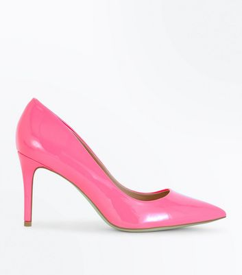 Bright Pink Patent Pointed Court Shoes New Look
