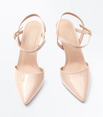 Nude Patent Ankle Strap Court Shoes New Look