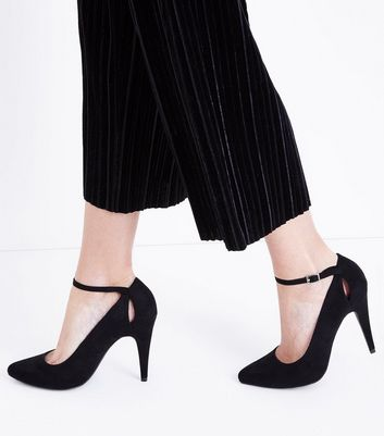 Black Suedette Keyhole Back Pointed Courts New Look