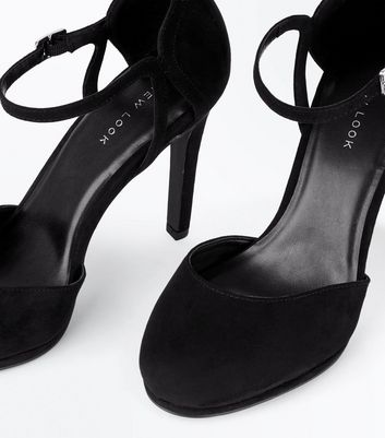 Black Suedette Ankle Strap Round Toe Courts New Look