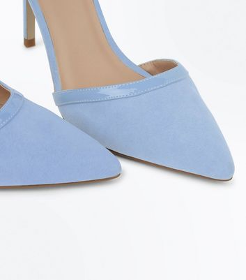 Pale Blue Suedette Patent Trim Pointed Heels New Look