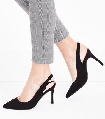 Black Suedette Bow Side Sling Back Pointed Heels New Look