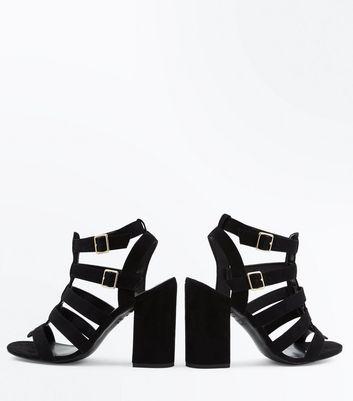 Black Suedette Block Heel Gladiator Sandals New Look