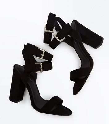 Black Suedette Double Ankle Strap Heeled Sandals New Look
