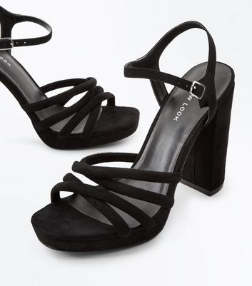 Black Suedette Tube Strap Platform Heeled Sandals New Look