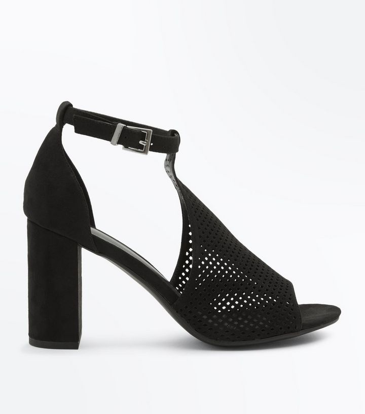 57e7b1a53 Black Suedette Perforated Block Heel Sandals