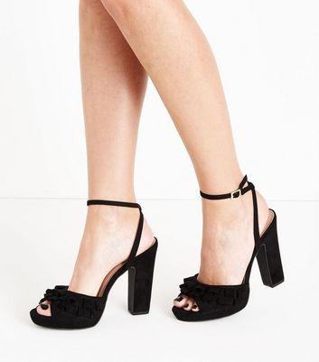 Black Suedette Frill Strap Platform Sandals New Look