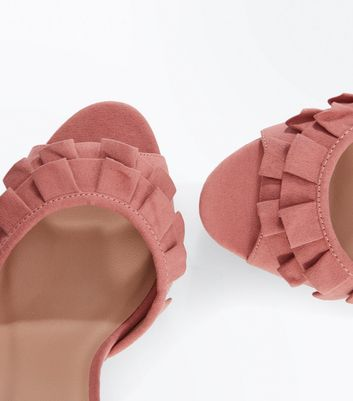 Pink Suedette Frill Strap Platform Sandals New Look