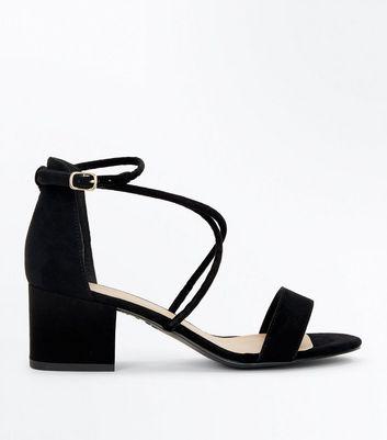 Black Suedette Strappy Low Block Heel Sandals New Look