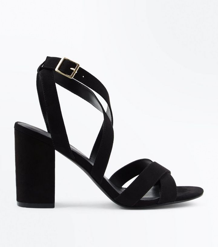 13e93b7759db Black Suedette Strappy Block Heel Sandals
