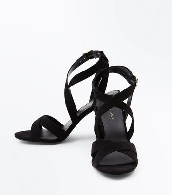 Black Suedette Strappy Block Heel Sandals New Look