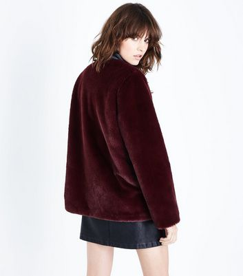 Burgundy Faux Fur Collarless Jacket New Look