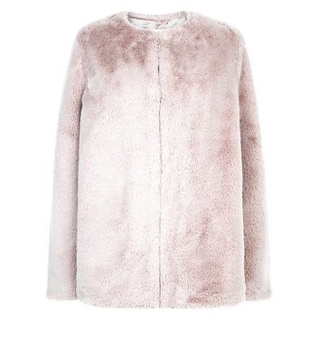 Pink Faux Fur Collarless Jacket New Look