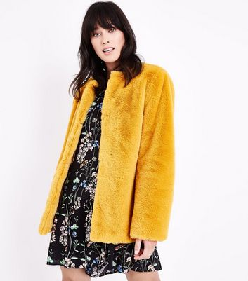 Mustard Yellow Faux Fur Collarless Jacket New Look