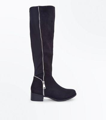 Teens Black Suedette Zip Back Knee High Boots New Look