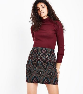 Black Aztec Jersey Tube Skirt New Look