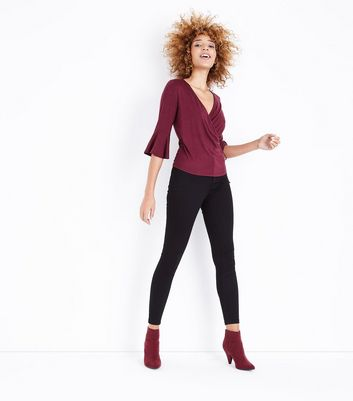 Burgundy Bell Sleeve Wrap Front Top New Look