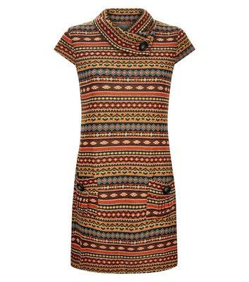 Mela Orange Pattern Stripe Tunic Dress New Look