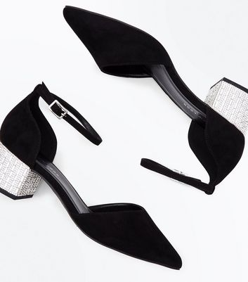 Wide Fit Black Suedette Diamante Embellished Block Heels New Look