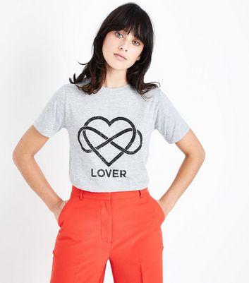 Grey Gem Studded Heart T-Shirt New Look