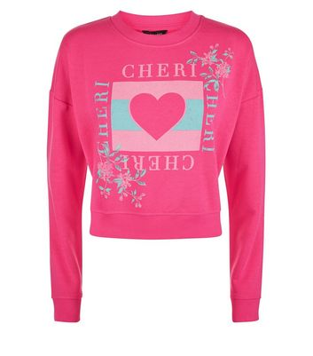 Bright Pink Heart Print Sweatshirt New Look