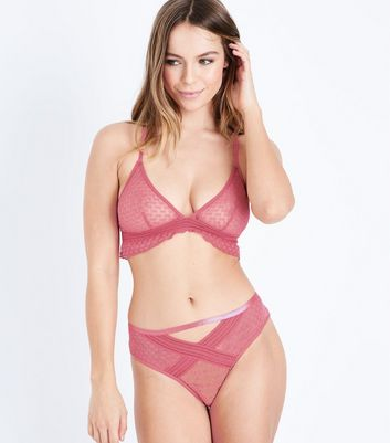 Mid Pink Geometric Lace Bralet New Look