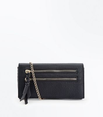 Black Double Zip Front Purse Clutch New Look