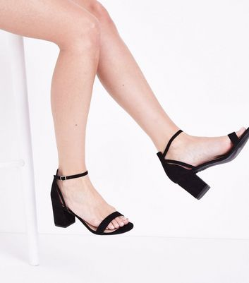 Black Comfort Flex Suedette Block Heel Sandals New Look