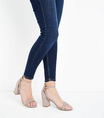 Grey Comfort Flex Suedette Block Heel Sandals New Look