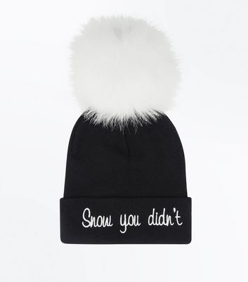 Black Snow You Didn't Slogan Bobble Hat New Look
