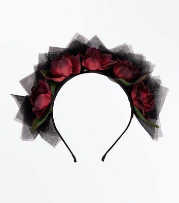 Halloween Floral Net Head Band New Look