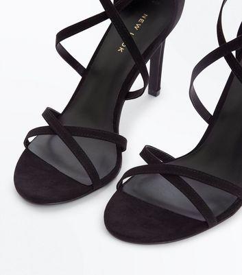 Black Suedette Strappy Stiletto Sandals New Look