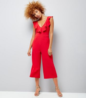 Cameo Rose Red Frill Neck Culotte Jumpsuit New Look