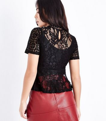 Petite Black Lace Peplum Hem Top New Look