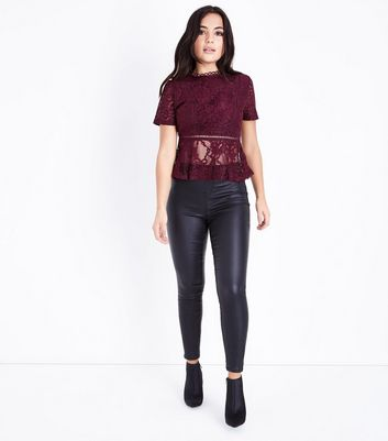 Petite Burgundy Lace Peplum Hem Top New Look
