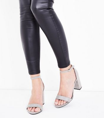 Wide Fit Grey Suedette Diamante Strap Block Heels New Look
