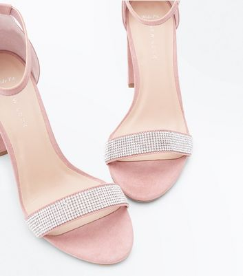 Wide Fit Shell Pink Suedette Diamante Strap Block Heels New Look