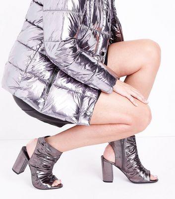 Wide Fit Pewter Metallic Ruched Block Heels New Look